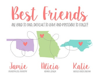 Personalized Gifts for Best Friends Out of State, Childhood Friends, US Map States, Heart Love Maps, 3 Friends, Trio, Three Girls | WF485