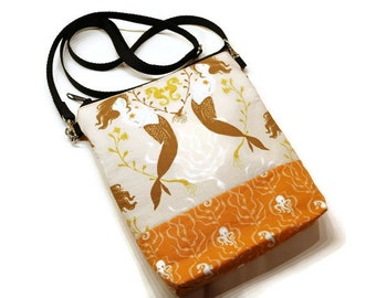 Mermaid and sealife theme small zippered cross body bag, shoulder purse. Salmon and orange. Bags and Purses. Gift for her.