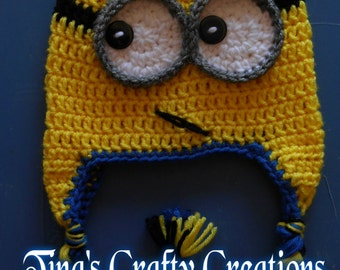 Minion Hat, Crochet Minion Hat, Yellow Man Hat, Photo Prop, Photography Prop, Minion Costume Hat, Crochet Hat, Handmade, Winter Hat