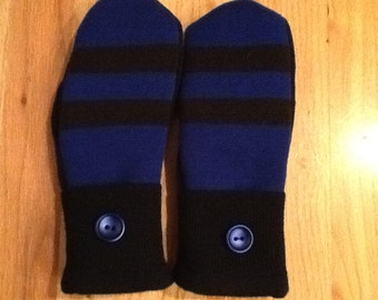 Striking blue and black sweater mittens