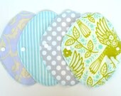 Set of 4 Cloth Panty Liners  7.5inch  Pastel blue Cotton flannel and hemp absorbent pad