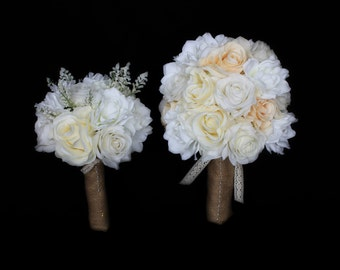 Wedding Bouquet, Rose Bouquet, Baby's Breath Bouquet, Magnolia Bouquet, Real Touch Wedding Bouquet, Bridal Bouquet, Rustic Bouquet, Burlap