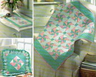 Simplicity 3703, 36 x 43 Inch  Pinwheel Quilt ,Place Mat and Pillow Quilting Pattern, Pinwheel Quilt Design, Dresser Scarf Pattern,