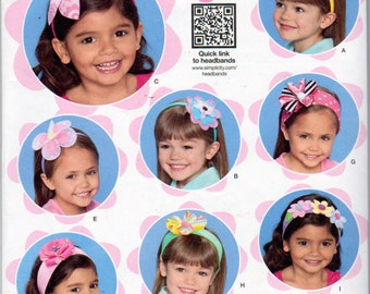 Simplicity 1820 , Little Girls Flower Headbands and Flower Bows  Hair Accessories ,Sewing Pattern, One Size Fits All