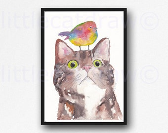 Cat Print Tabby Cat with Colorful Bird Cat Print Watercolor Painting Art Tabby Cat Watercolor Art Print Unframed Cat Art