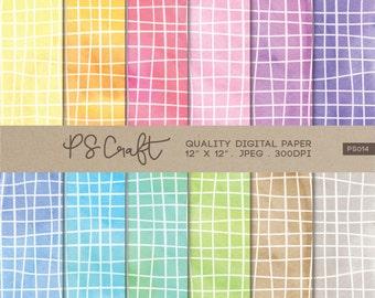 Watercolor Crosshatch Digital Papers, Crosshatch Pattern