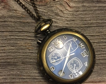 Blue Pocket Watch Necklace, Clock Necklace, Double Clock Necklace, Bronze Pocket Watch Necklace, Gold Pocket Watch, Gift For Her