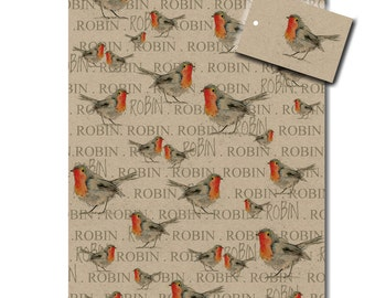 Robin Kraft Wrapping Paper - Gift Wrap