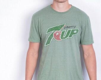 Virgin 7up Mens L T-Shirt Green Cotton Short Sleeve Vintage