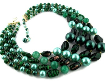 Exceptional Green Foil/Art Glass Faux Pearl 4 Strand Japan Necklace - MiNT & NEW