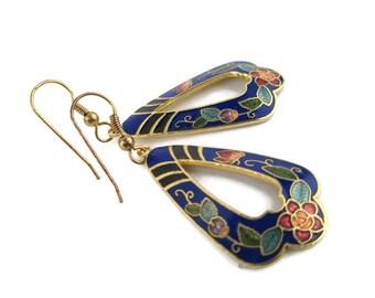 Vintage Gold Tone Blue Cloisonne Floral Butterfly Earrings