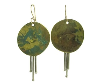 Vintage Modernist Brass Circle Disks and Silver Tone Rods Earrings
