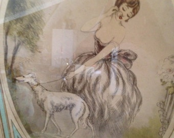 Beautiful Framed and Matted Lady Walking Her Dog Signed Stalling