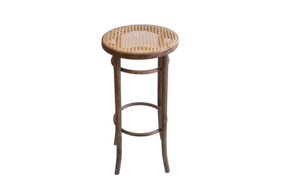 Vintage Thonet Style Bentwood Wood Cane Bar Stool