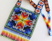 Mexican Huichol Square Beaded Chest Plate Star Necklace