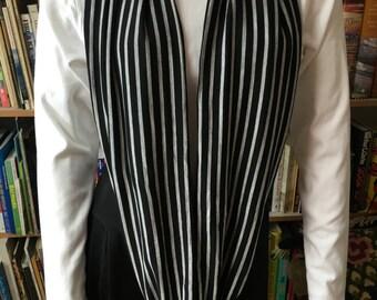 Black and Gray Stripe Knit Infinity, Circle, Loop Scarf