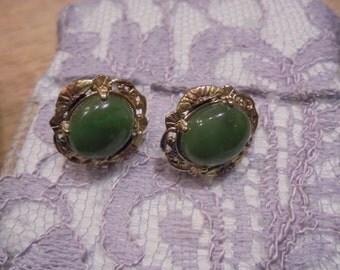 Sale--Black Hills G.F / Jade clip Earrings  vintage