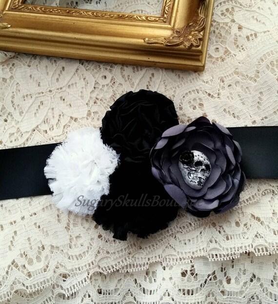 Dia de los muertos wedding dress sash sugar skull black for Sugar skull wedding dress