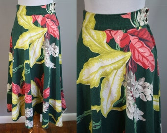1940's Skirt // Tropical Floral Barkcloth // Small