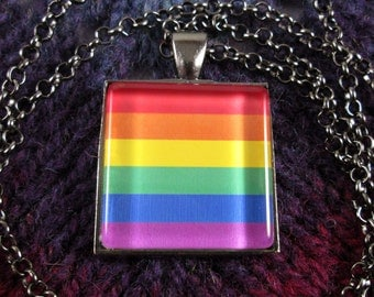 LGBT Pride Flag Necklace - Gunmetal - Rolo Chain