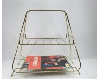 Vintage Mid Century Magazine Holder, Metal Magazine Caddy, Newspaper Shelf, Magazine Rack, Book Shelf, Mid Century Modern Decor