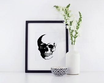 Skull Print - Skull Art - Skull Decor - Halloween Print - Halloween Art - Skeleton Print