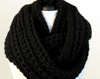 OverSized Infinity Scarf Black Oversize Infinity Festival Clothing Outlander Scarf Squishy Huge Classic Black Infiniti Knit Crochet Wrap