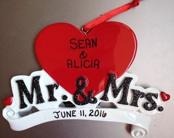 Personalized Mr. & Mrs. Wedding Hearts