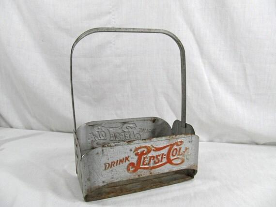 """Pepsi Cola Holder """"Double Dot Logo"""" 1940's Vintage Metal Bottle Carrier Antique Drink Advertising Memorabilia"""