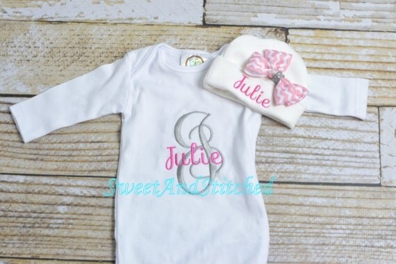 Personalized baby girl newborn gown or bodysuit, Monogrammed layette gift set girl, hat, bib, burp cloth, personalized take home outfit