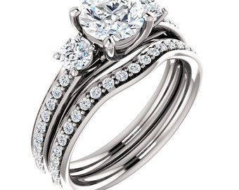 3 stones FB Moissanite Solid 14K White Gold Diamond Engagement Ring Set ST000221  (Other stone options available) Certified Appraisal