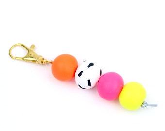 Neon bead keychain, Neon keychain, Fluorescent bead keychain, neon handbag charm, beaded keychain, bead keyring, Light keychain, keyrings
