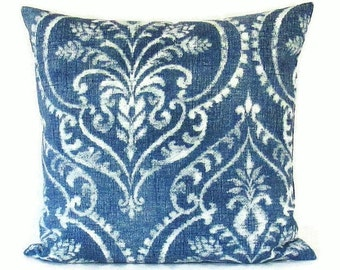 Navy Denim Blue Damask Pillow Cover Decorative Throw Accent Couch Cushion White 16x16 18x18 20x20 22x22 12x14 12x16 12x18 12x20 14x22 Zipper
