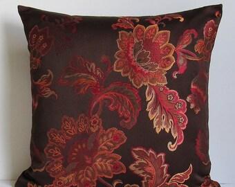Brown Floral Pillow Cover Coral Rust Orange Red Decorative Throw Accent 16x16 18x18 20x20 22x22 12x14 12x16 12x18 12x20 14x22 Zipper