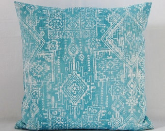 Turquoise Aqua Throw Pillow Cover Geometric Decorative Accent White 16x16 18x18 20x20 22x22 12x16 12x18 12x20 14x22  Zipper