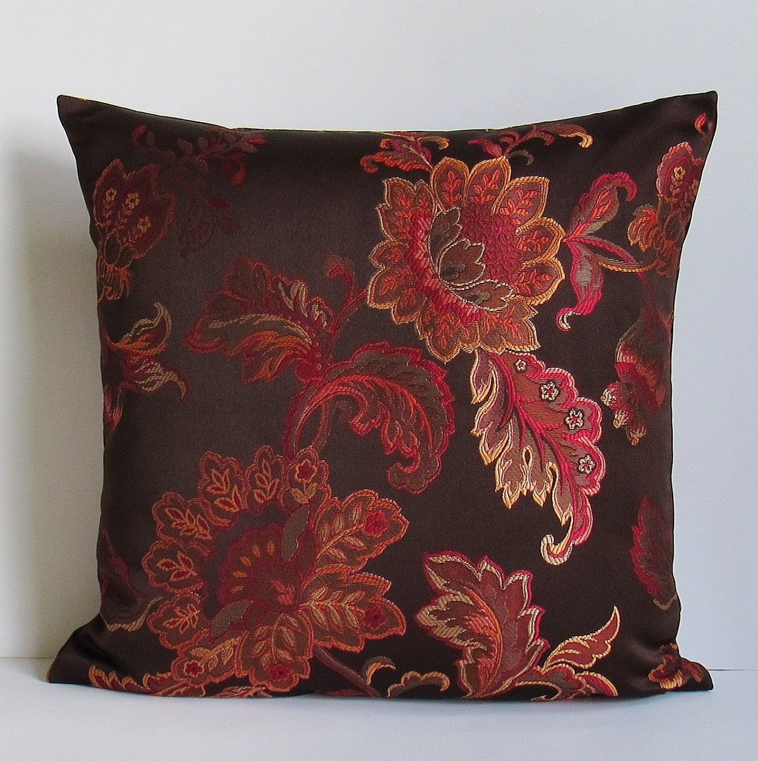Brown Floral Pillow Cover Coral Rust Orange Red Decorative