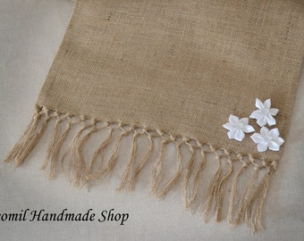 Aqua Blue Table Runner With Fringe Burlap Table Runner With