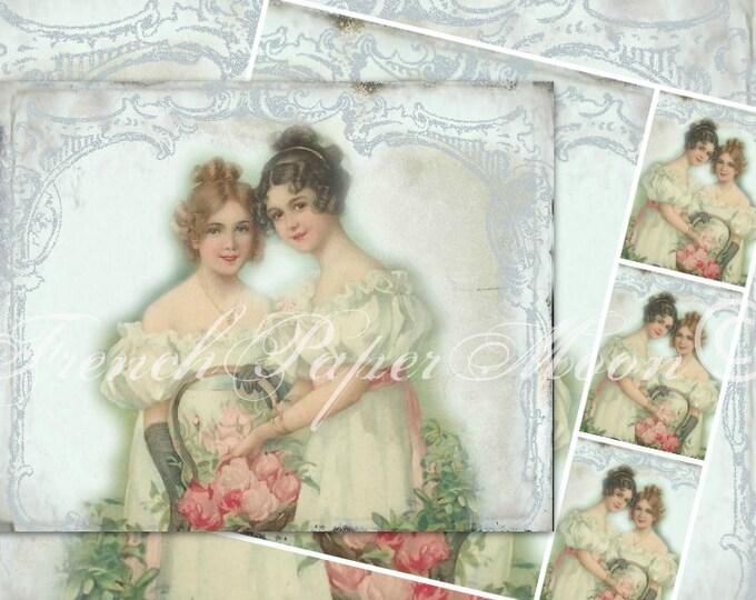Victorian Women Digital Download, Victorian  Printable Cards, Vintage Digital Collage Sheet