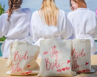 Bride and Bride Tribe Canvas Totes, Bachelorette Party Gifts, Bride Tribe Tote, Bride Canvas Tote, Bridal Party Gifts, Bridal Party Tote Bag