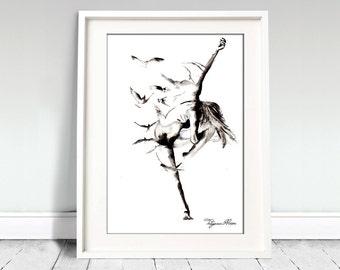 Ballerina watercolor art print. Wall art, wall decor, digital print. Flying