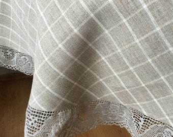 Linen Round Tablecloth Linen Lace Chaquared