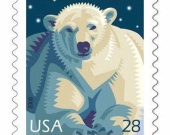 10 Unused Polar Bear Postage Stamps // Polar Bear // White Bear Postage Stamps