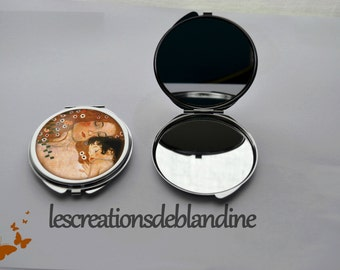 """Pocket mirror double """"mother and child"""" in metal"""
