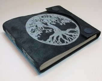 Leather blank book, hand-made, hand-printed Tree of Life art on cover, closes with magnetic snaps. Diary, journal, blank book.