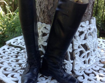 Vintage Women's Tall Black Leather Riding Boots Hawthorne Foster Sz 7.5