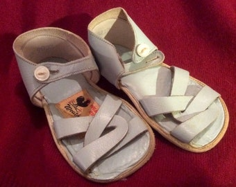 Vintage Weather Bird Shoes. Blue Leather Strappy Sandals.