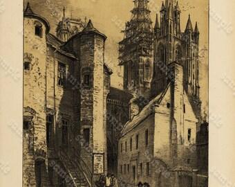 Original  Antique Gothic Architecture Lithograph of Cathedral De Coutances
