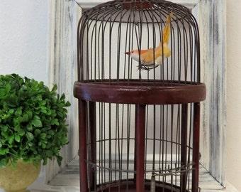 Bird Cage Wood - Round Vintage Birdcage - Home Decor