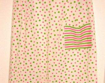 Vintage half apron, white with pink and green polka dots