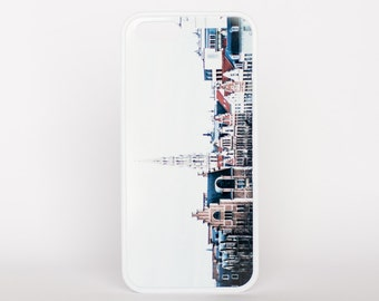 The Rooftops of Belgium in Brussels by Adventure Case for iPhone 5, 5s, 6, 6 plus, 6s, 6s plus, SE offered as a white or black rubber case